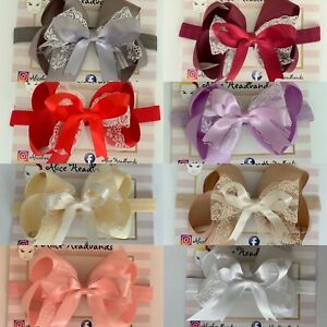 Big-Bow-Baby-Girls-Headbands-Lace-Bow-Elastic-Band-4-Inches-Spanish-Dress-Lot