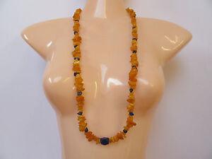 BERNSTEIN-mit-Lapis-Lazuli-Halskette-ohne-Verschluss-endlos-gefaedelt-80-cm