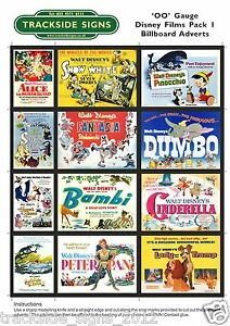 Disney Film Billboard Advert Sheets - OO Gauge 4mm - Model Railway