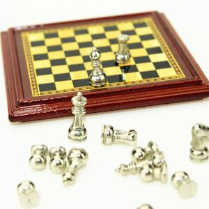 1-12-Scale-Dollhouse-Miniature-Metal-Chess-Set-Board-Toys-Gold-amp-Silver-Pieces