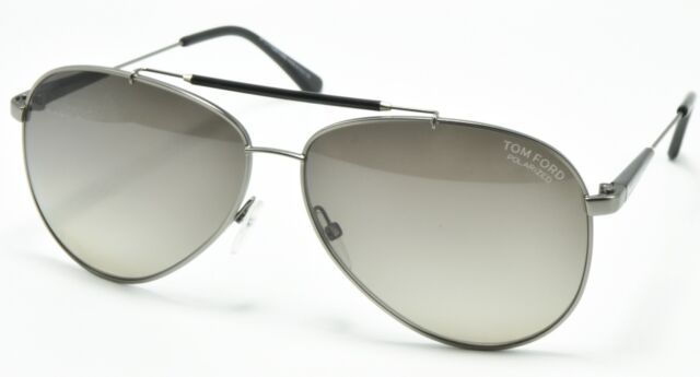 9a848c43666 Tom Ford Rick TF 378 10d Gun Metal Polarized Aviator Sunglasses 62-13-140