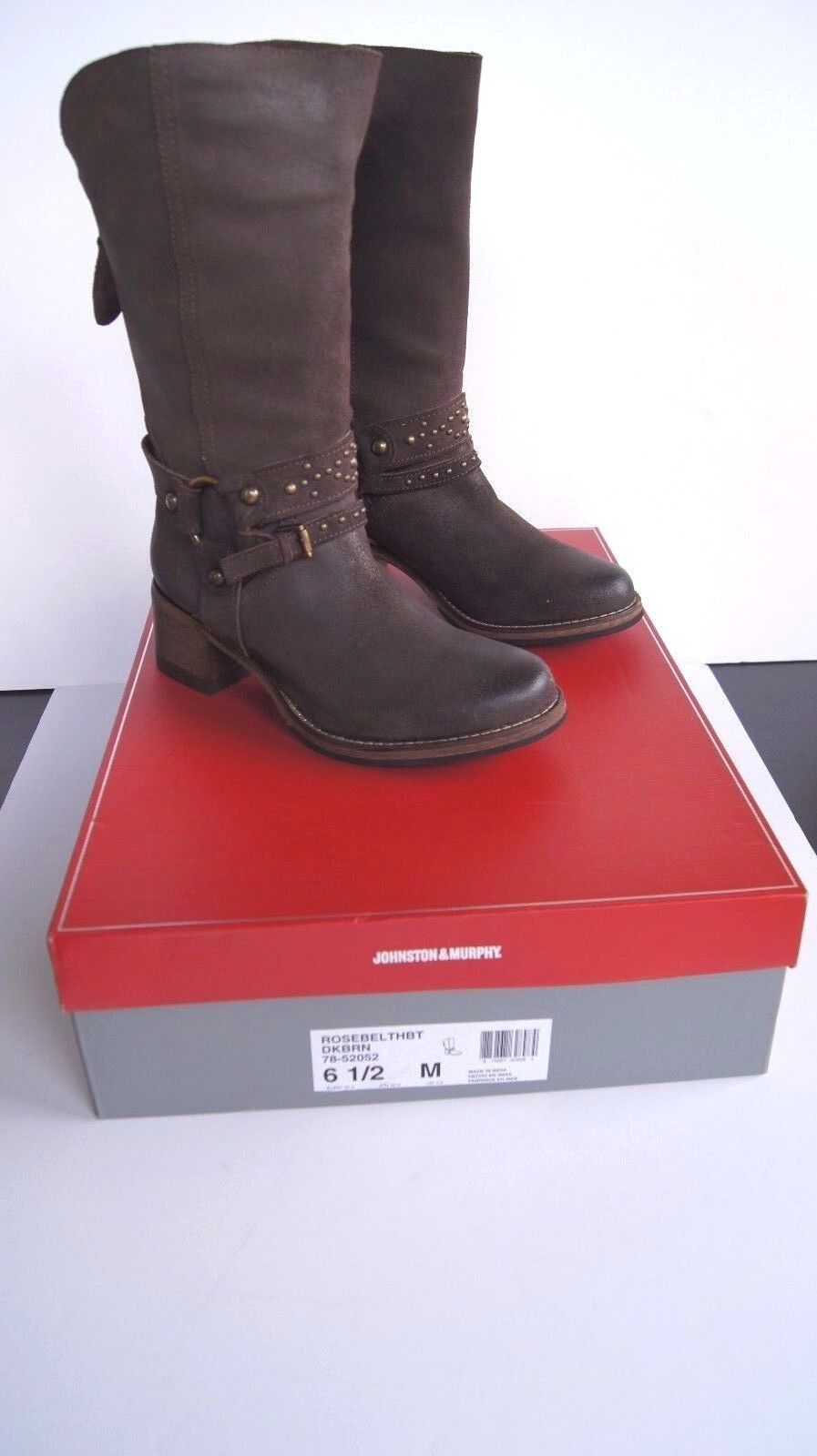 Johnston & Murphy Boots Women's Vero Cuoio Rosebel Dark Brown Heel Boots 6.5 NEW