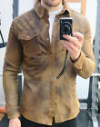 BARBOUR INTERNATIONAL NEEDLES STEVE MCQUEEN NAPPA LEATHER SHIRT TAN LARGE L