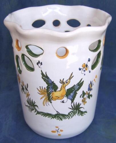 Pot à couverts ajouré droit égouttoir ustensile FAIENCE DE MOUSTIERS peint main