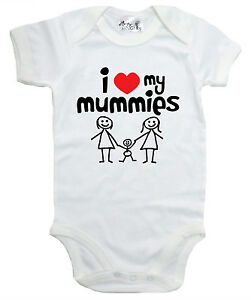 "LGBT Baby Bodysuit ""I Love my Mummies"" Baby grow Vest Gay Pride"
