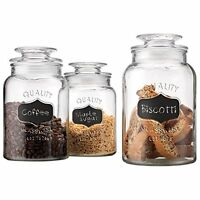 Quality Canister Set Of Set Of 3 Clear Glass Round Chalkboard Jar With Tight Lid