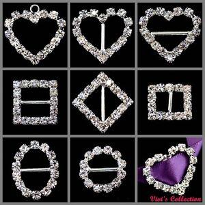 Diamante-Rhinestone-Buckles-Ribbon-Sliders-Wedding-Decor-Bridal-Embellishments