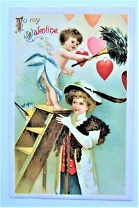 Clapsaddle-LADY-Helps-CUPID-Dust-Off-Hearts-VALENTINE-Embossed-Postcard