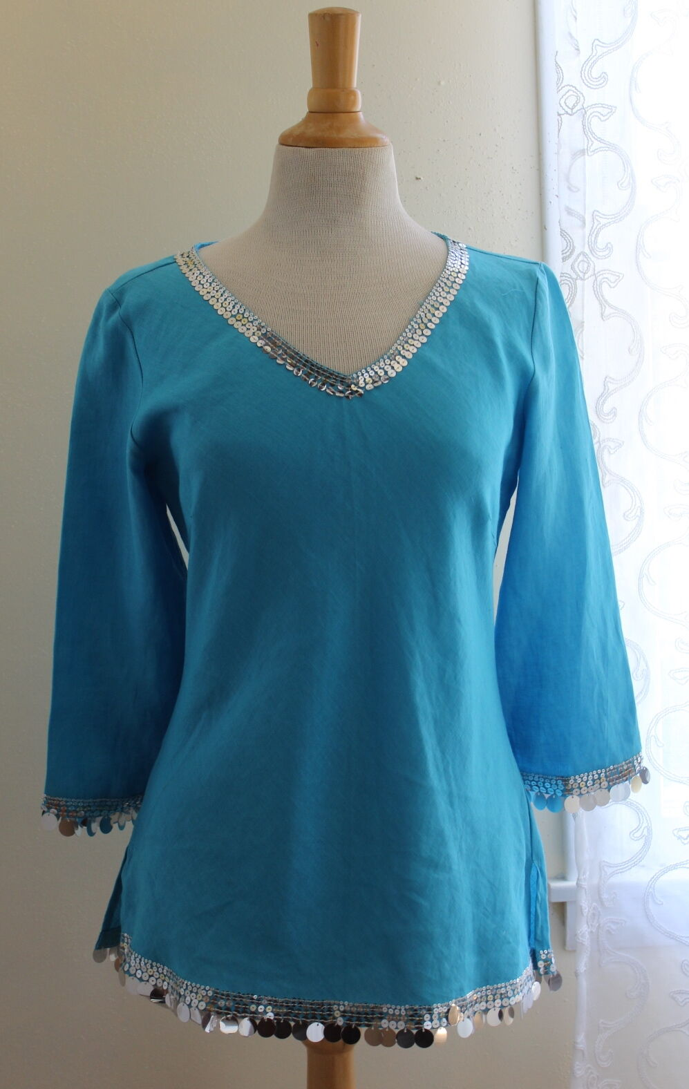 NWT Richard Malcolm - Sz 4 S -Turquoise 100 Linen Bangles Funky Sequin Tunic Top