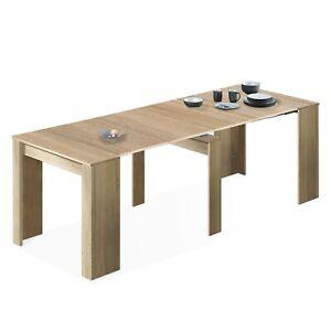 Detalles de Mesa de comedor, mesa consola extensible mesa cocina recibidor,  Roble Canadian