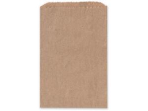 BROWN KRAFT Flat Paper Merchandise Bags Choose Size & Package Amount