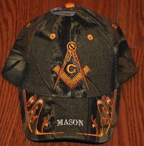 EMBROIDERED BLACK BLUE CAMO WHITE MASON MASONIC LODGE CAP HAT FREEMASONRY