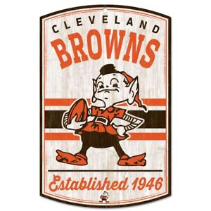 Details About Cleveland Browns Brownie Elf Classic Retro Logo Est 1946 Wood Sign 11 X17 New