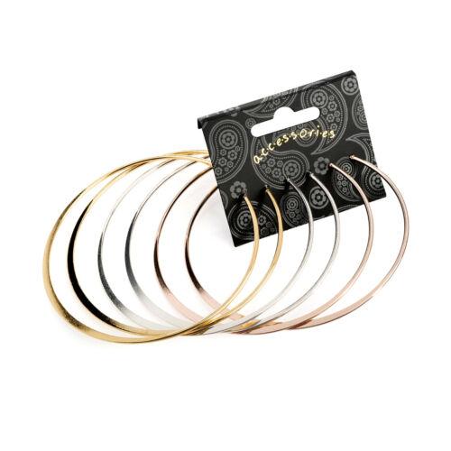 3 Pairs Large Hoop Earrings Thin Metal 9cm Ladies Hoops Fashion Jewellery