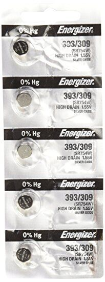 5 x Energizer 393 Watch Batteries, 0% MERCURY equivilate SR754W
