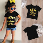Toddlers Baby Girls Letters Print Tops T-Shirt Black Short Sleeves Tee Clothes