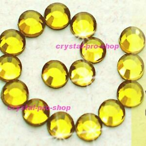 Citrine-Yellow-Iron-On-Hotfix-Flat-back-Rhinestones-Crystal-Glass-Diam-ante-Gems
