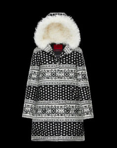 Moncler-Gamme-Rouge-Women-039-s-Size-1-Small-Sophie-J-Wool-Coat-Black-White