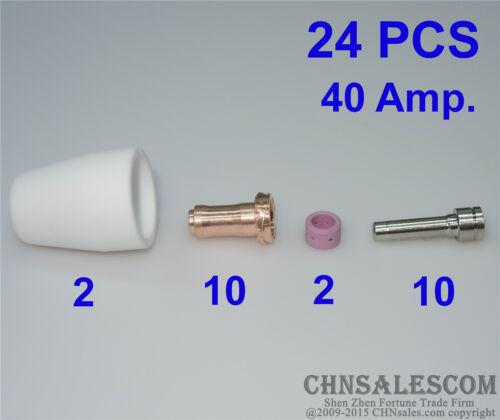 24 PCS PT-31XL PT-31XT Plasma Torch Consumabes TIP 21008 Electrode 20862 40Amp.