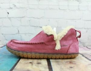 LL-BEAN-Shearling-Lined-Purple-Suede-Wicked-Good-Moccasin-Ankle-Slippers-Size-10