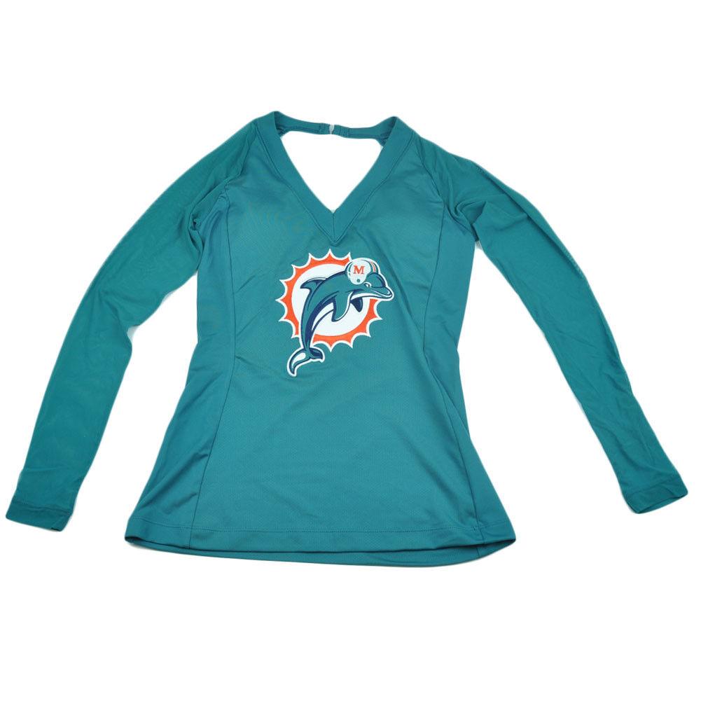 NFL Miami Dolphins Wildkat Malla Camiseta Mujer Camisa Manga Larga