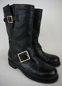 1c76aaf412ff8 Jimmy Choo Motorcycle Moto Black Leather Biker Boots Size 34.5 / 4.5 ...