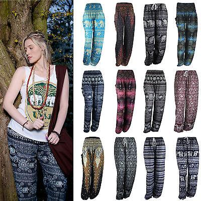 UK Womens Ladies Harem Pants Yoga Thai Hippie Elephant Wide Boho Genie Trousers