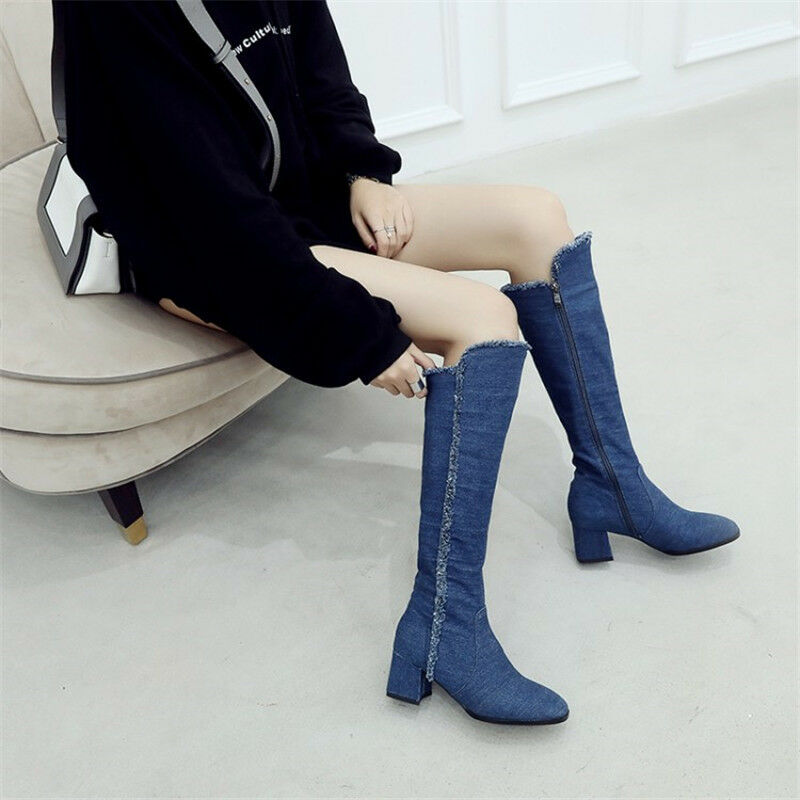 Fashion Women Denim Knee-High Boots Chunky Heel Side Zipper shoes Eur Size 35-43