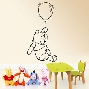 Details about Winnie the pooh with balloon wall sticker kids boys girls  bedroom- show original title