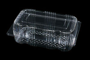"""50 Clear Plastic 5.5/"""" Food Take Out Clamshell Container Cupcake Cookie Favor #D5"""