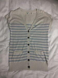 Delightful FAT FACE Stripy Sleeveless Cardigan-size 10. Worn Once! Blue/ Cream.