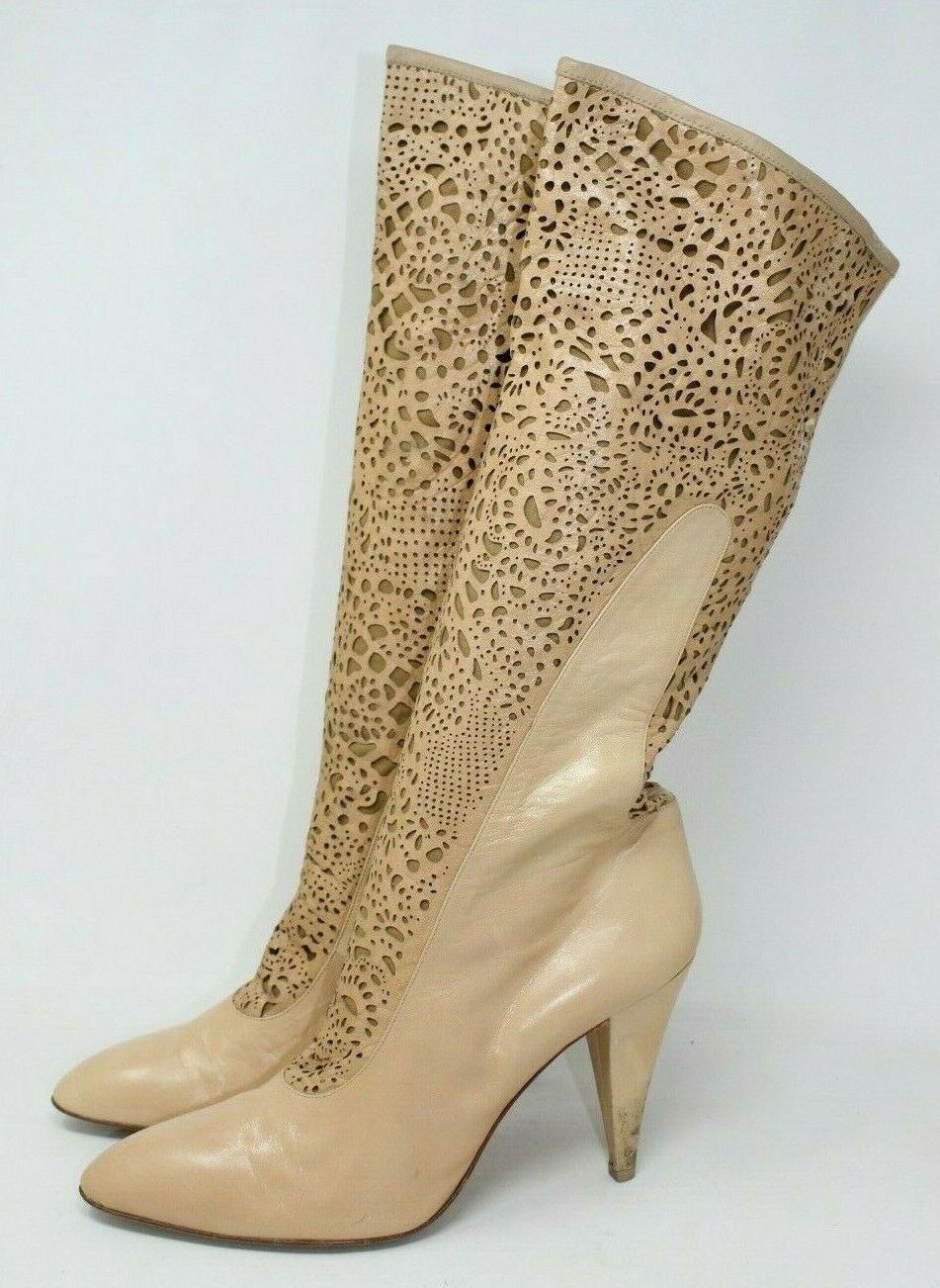 BCBGMAXAZRIA Leather Laser Cut Western Boot in Tan - 11 US