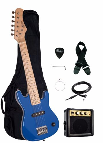 "Strap Gig Bag NEW Raptor EP-3 Kid/'s 30/"" BLUE Electric Guitar Pack w// 3W Amp"