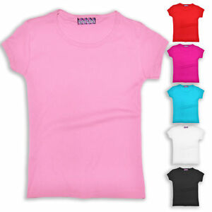 Girls-T-Shirt-Kids-Teen-Gym-Top-Plain-Cotton-Short-Sleeve-New-Age-2-14-Years