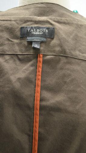 Talbots Sleeve Swing 12 Single Button 4 Jakke Sz Stretch 3 Bomuldstville L Brun rFwrWU7q
