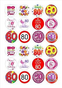Image Is Loading 24 Icing Cake Toppers Decorations 80th Birthday Female