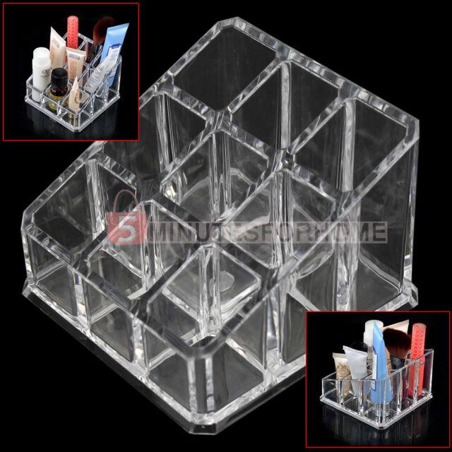 Clear Acrylic 9 Tips Makeup Organizer Lipstick Holder Cosmetics Case Box Display