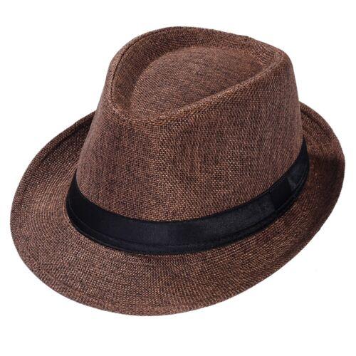 Women Men Summer Beach Trilby Fedora Straw Panama Wide Brim Beach Cap Sun Hat