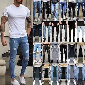 9730a3ed15 Fashion Trendy Men s Skinny Jeans Biker Destroyed Frayed Slim Denim ...