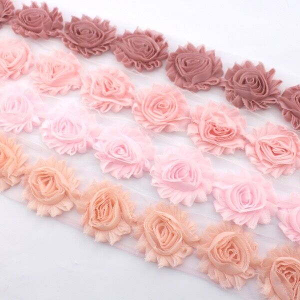 10 Shabby Chiffon flower trim peach/baby pink/dusty pink- millinery, hair, craft