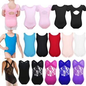 New-Girls-Kids-Leotard-Dance-Gymnastics-Ballet-Sleeveless-Leotards-Age-3-12Years