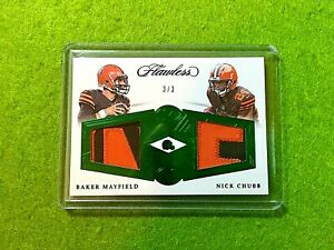 BAKER-MAYFIELD-FLAWLESS-NICK-CHUBB-ROOKIE-JERSEY-CARD-3-3-SSP-2018-Panini-BROWNS