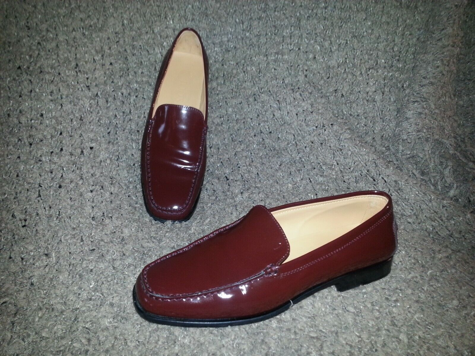 TOD's Loafers-Burgundy Patent Leather-Size 38.5-AUTHENTIC-EXCELLENT