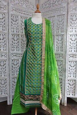 Sistematico Green Cotton Silk Punjabi Salwar Kameez – Uk Taglia 8/eu 34 Sku15670- I Clienti Prima Di Tutto