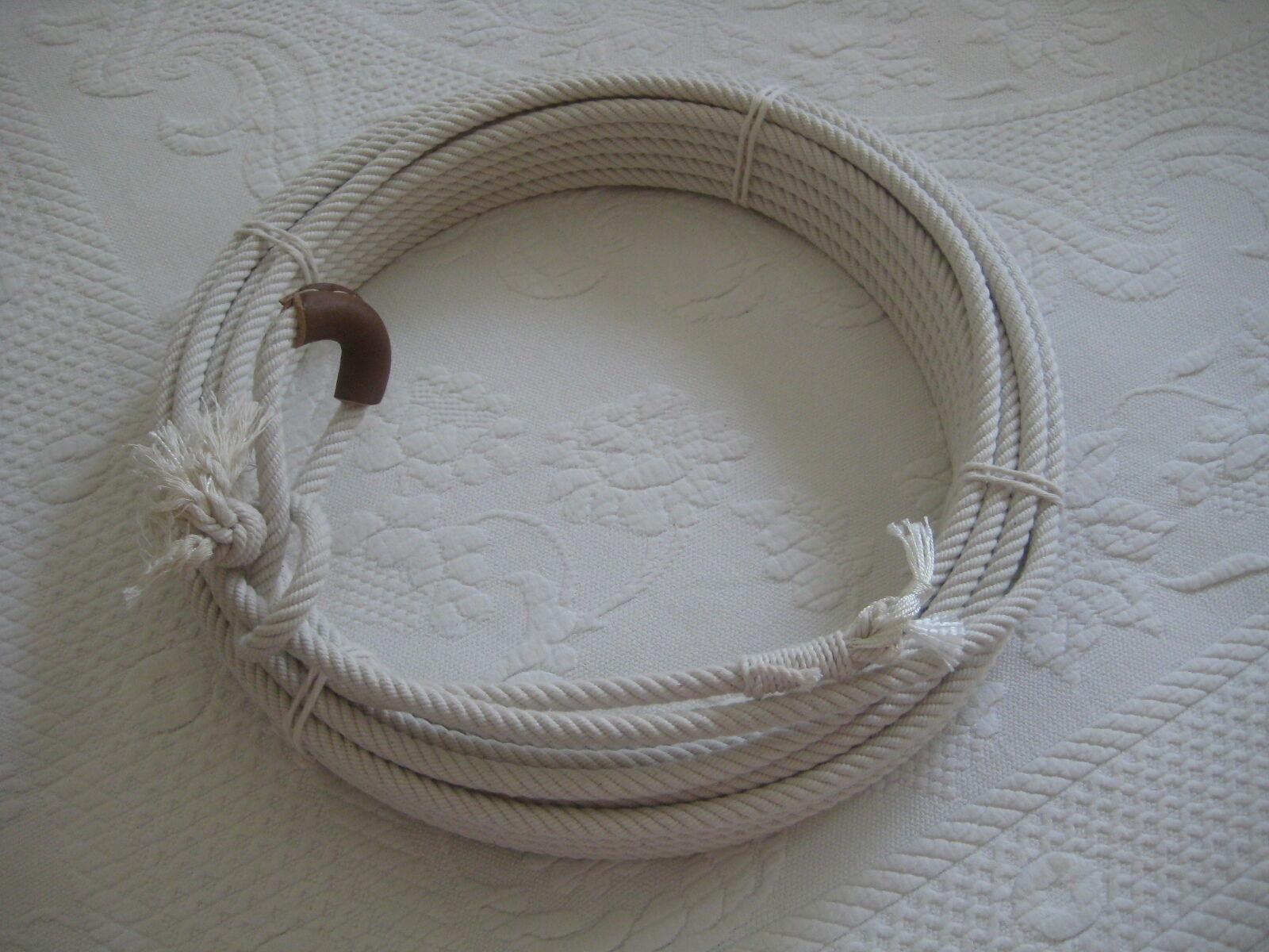 Cotton Lariat Rope Reata Soga - CR-08  63 ft 3 8  dia., w Leather Burner