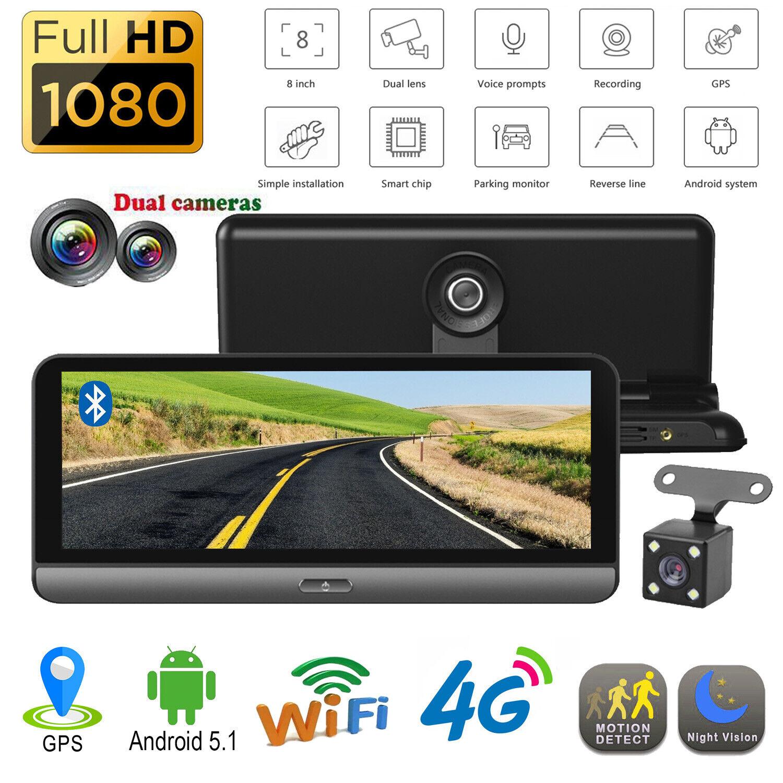 """8/"""" Android 5.1 Car Dash Cam 4G WiFi Bluetooth ADAS Dual Lens DVR Camera GPS Navi"""