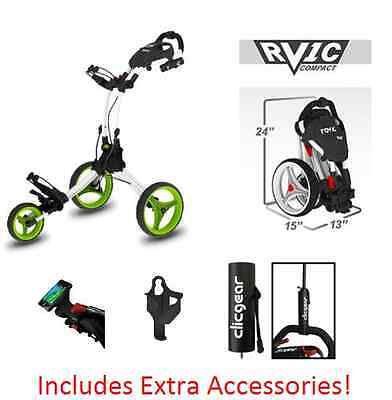 OPEN BOX NEW! Rovic RV1C by Clicgear Compact Golf Push Cart White/Lime Clic Gear