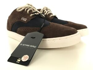 G-Star-Raw-Mens-2-Tone-Sneakers-Shoes-Sz-US-8-Dark-Brown-Suede-With-Denim-NEW