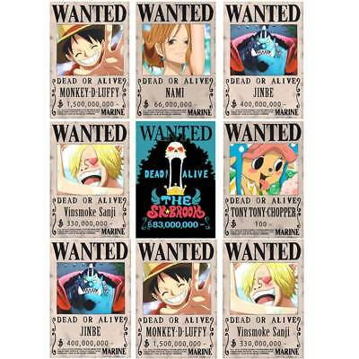 10pcs Set One Piece Anime Poster Straw Hat Pirates Shanks Ace Wanted Poster Ebay