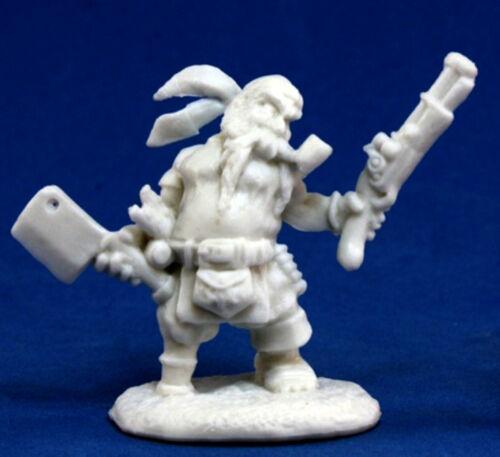 1x GRUFF GRIMCLEAVER NAIN PIRATE BONES REAPER figurine miniature dwarf 77133